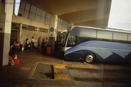 People waiting to buses at Tepic, Nayarit, Mexico Bus Terminal